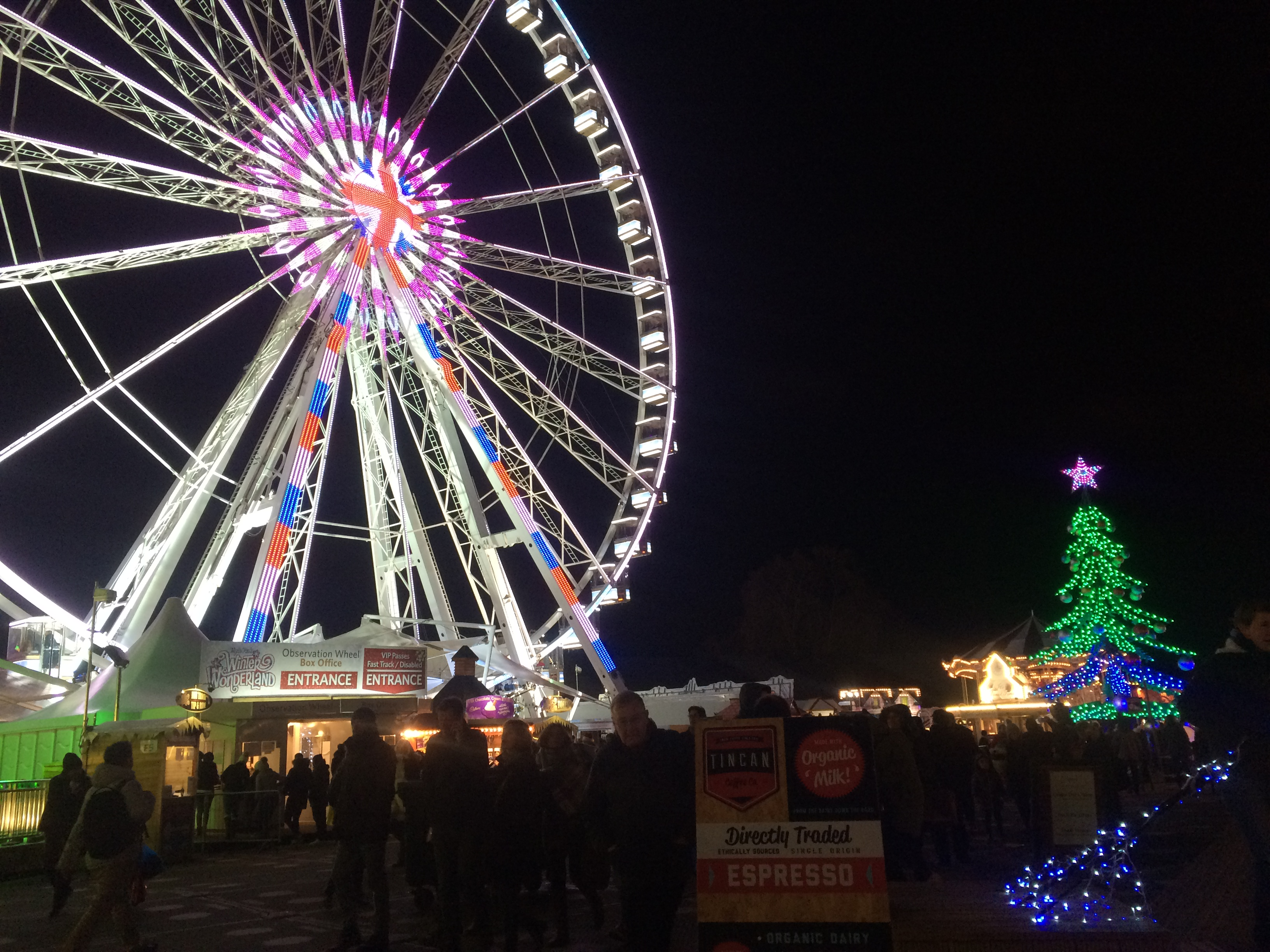 "A Ferris wheel lit up at night at London's Hyde Park ""Winter Wonderland"", next to a lit up Christmas tree and crowds of people."