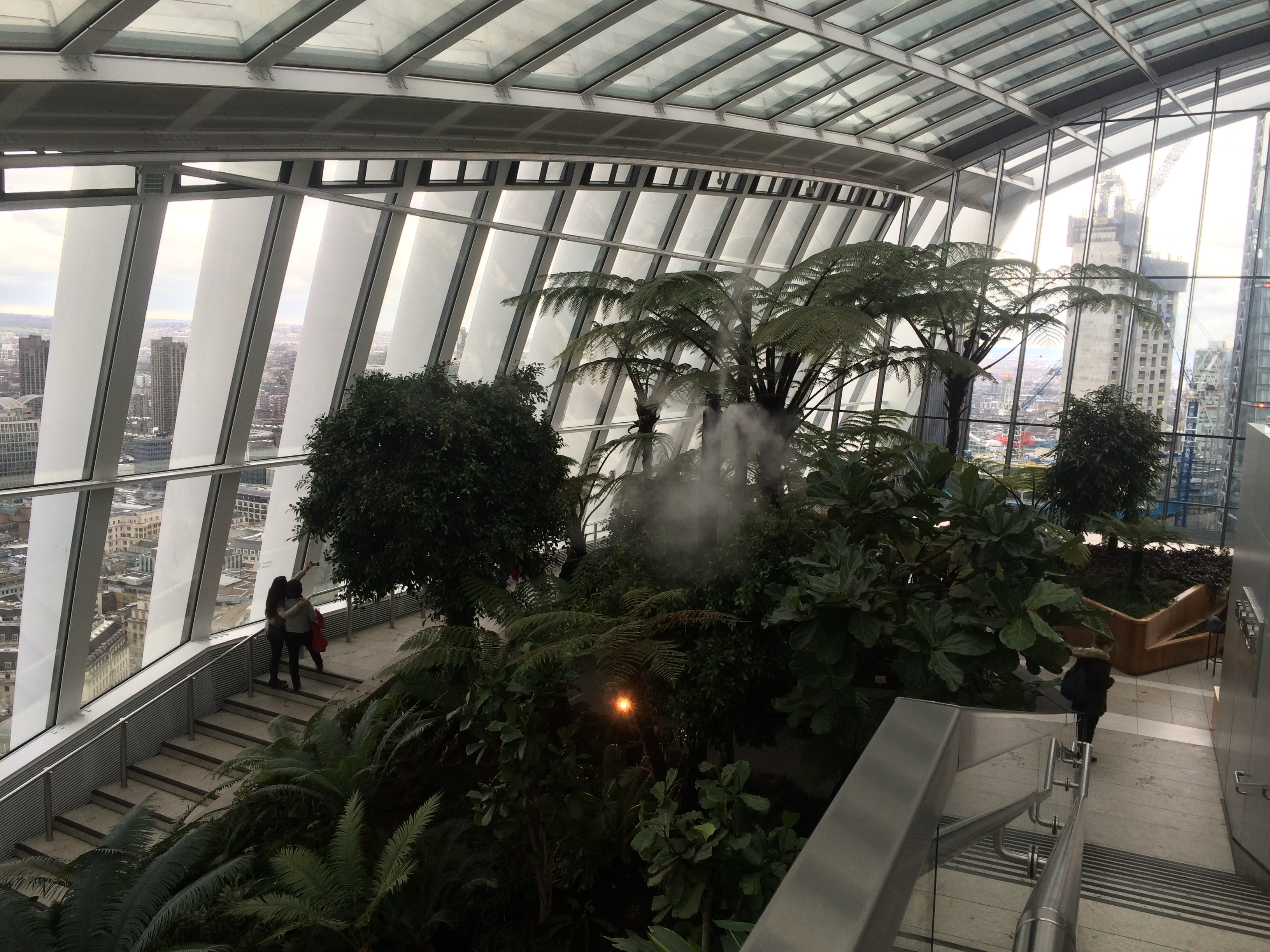Inside the Sky Garden in London, a rain forest design and windows looking out over London.