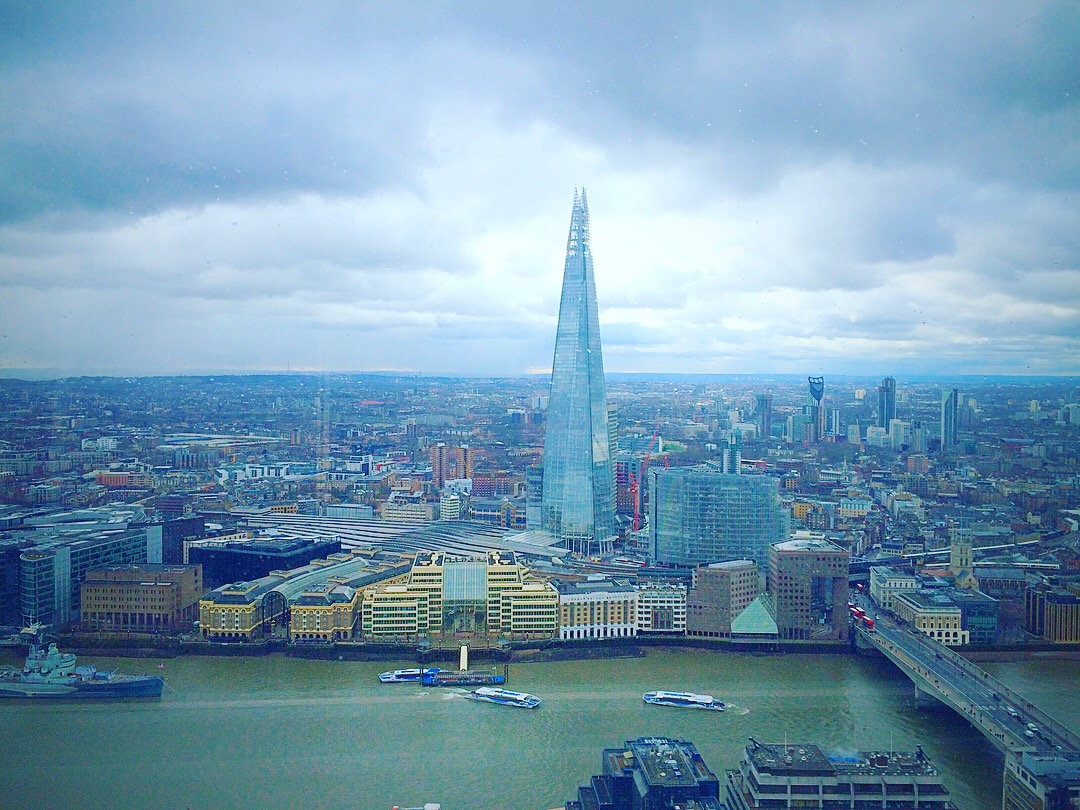 """The view of London's skyline from """"Sky Garden"""" a place in London. The other side of the river from The Shard in London."""