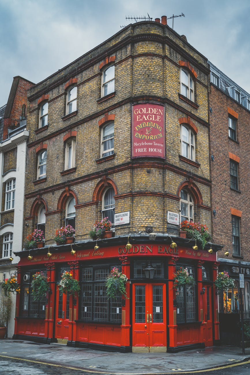 A pub in london, a shot from the outside of it.
