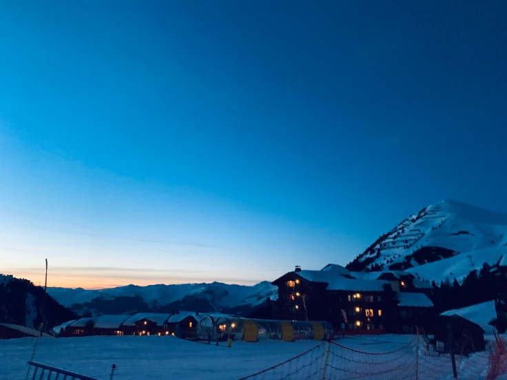 Night time view of a chalet at La Plagne, France the French Alps.