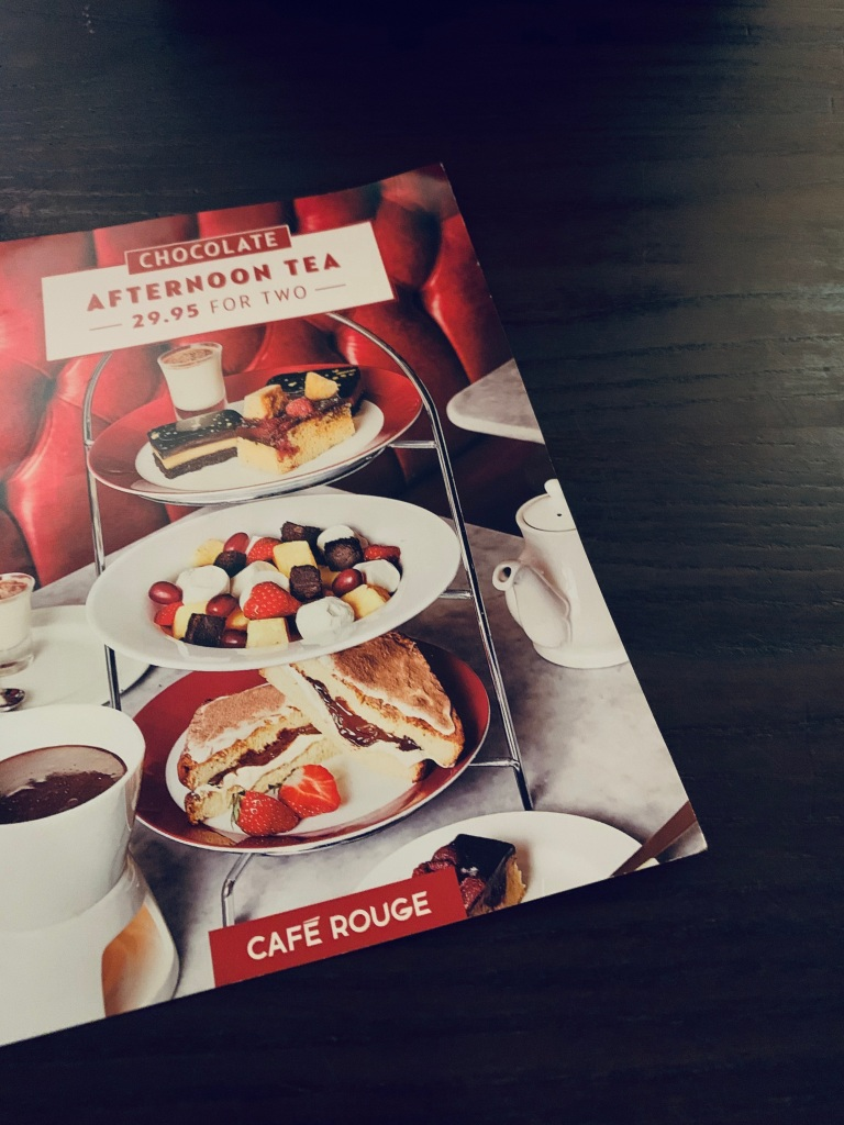 A menu for afternoon tea, chocolate themed at Cafe Rouge.