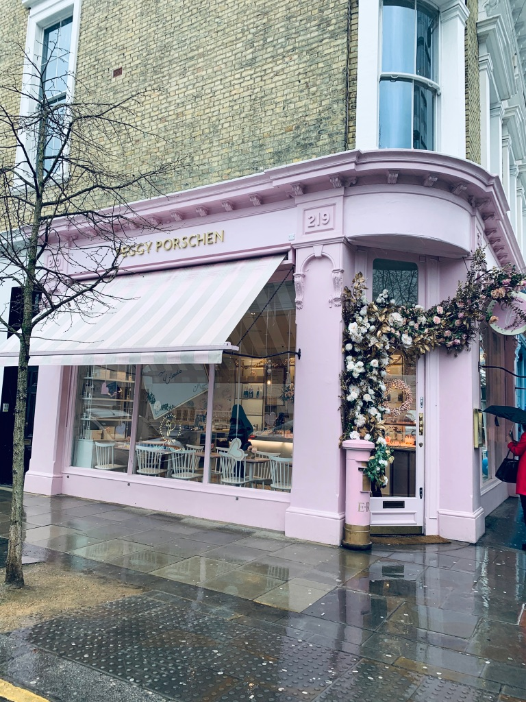 "The pink themed London cafe/bakery called ""Peggy Porschen"" in Chelsea."