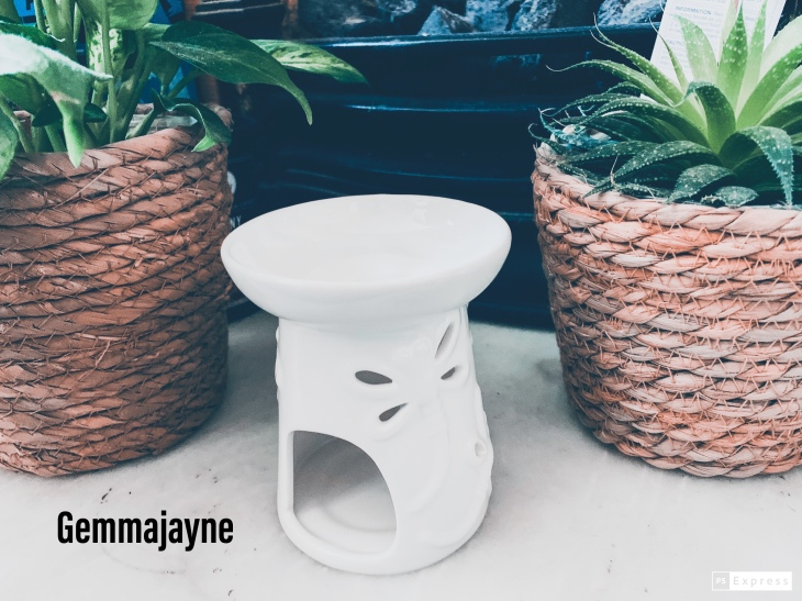 """a white dragonfly oil burner in the middle, with real plants in wooden baskets either side. Placed upon a marble floor, with a fireplace in the background and the text """"Gemmajayne"""" at the bottom."""