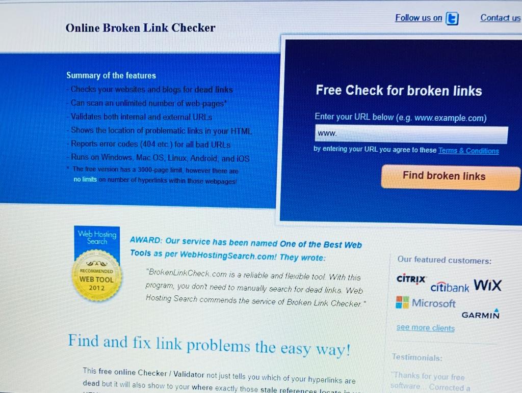 """A print screen of a website """"broken link checker""""."""