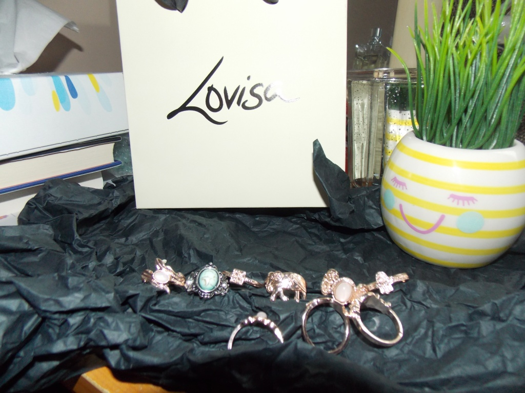 """A collection of silver and rose gold rings laying on black tissue paper, with a fake green plant in a stripey yellow and white plant pot with a pink smiley face on the front. The brand """"Lovisa"""" gift bag is displayed in the background."""