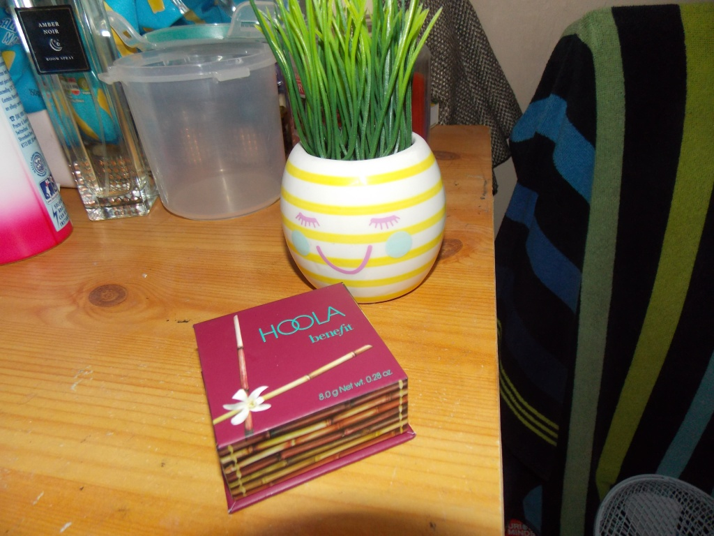A product picture of the HOOLA Benefit bronzer product in front of a stripey fake plant .