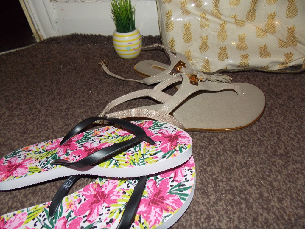 Two pairs of flip flops. One pair has pink and different colours of greens on them. The other pair is a cream shiny gold colour.