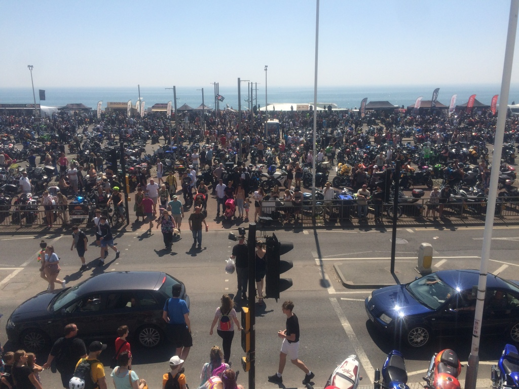 A crowd of thousands of bikes near Hastings beach in the carpark.