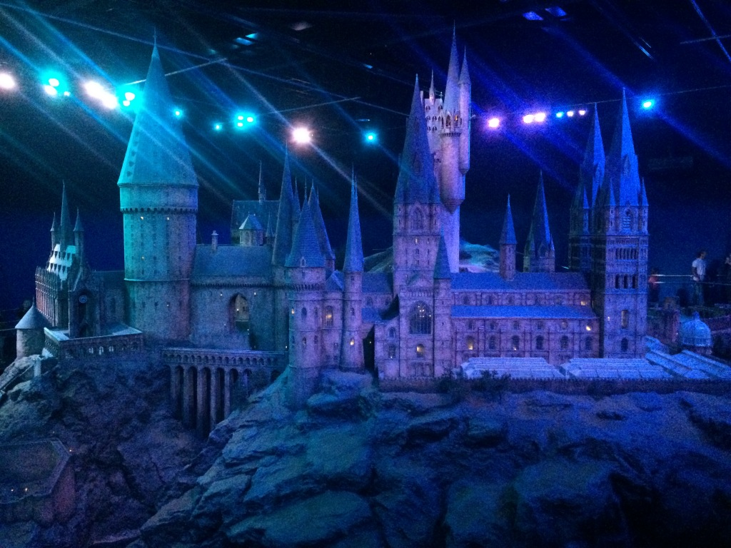 The Hogwarts castle taken at the Harry Potter Studio tour in London, whilst in blue light.