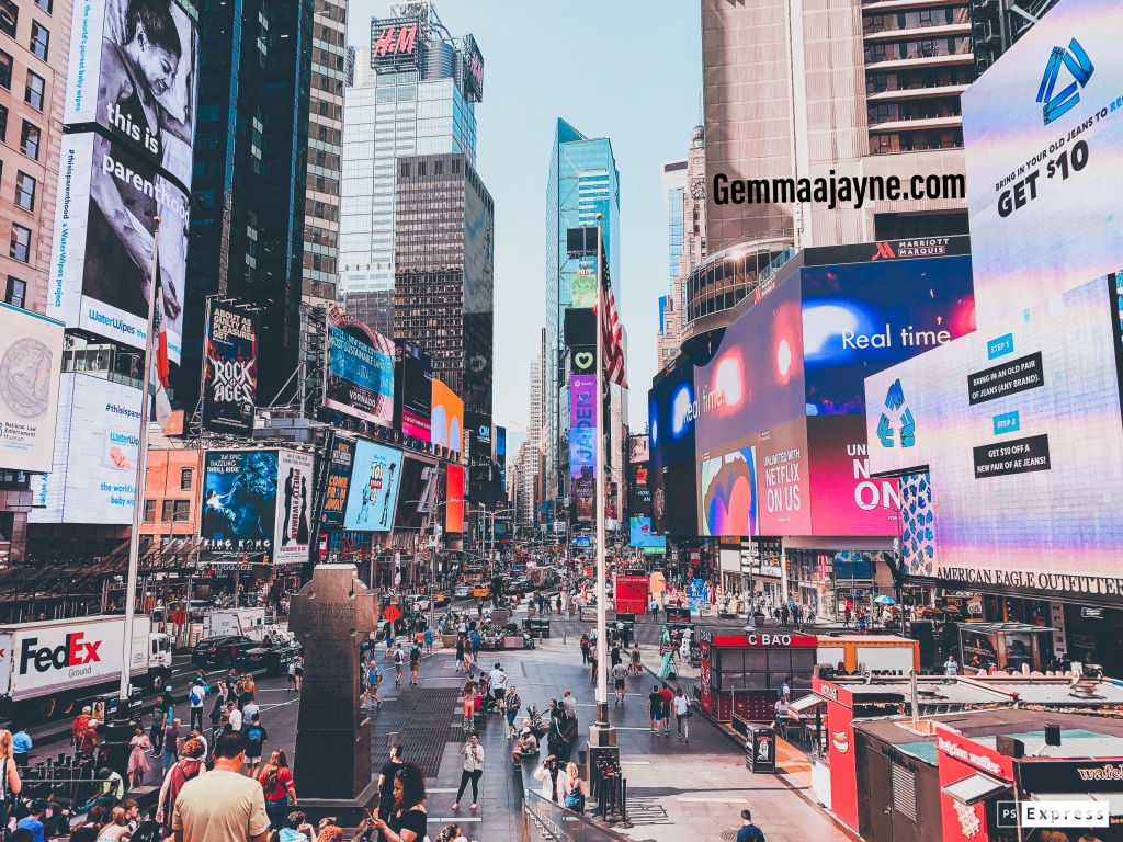 A view on the steps in Times Square New York during the day.