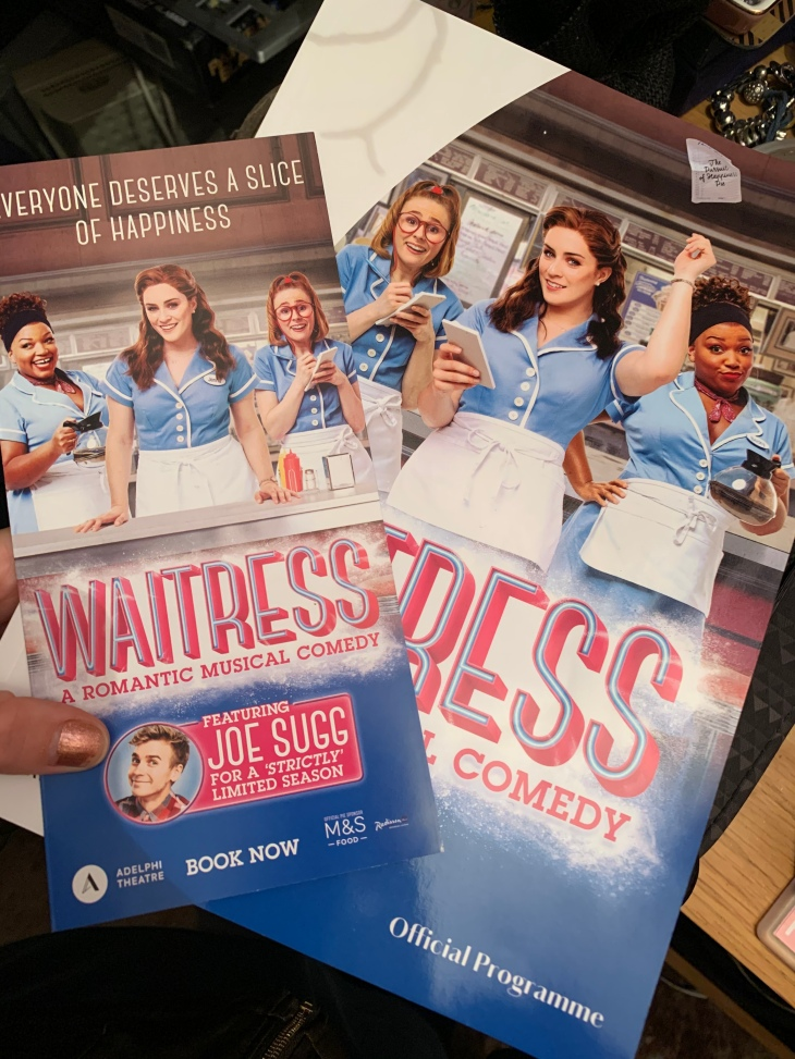 A leaflet and booklet of Waitress the musical in London