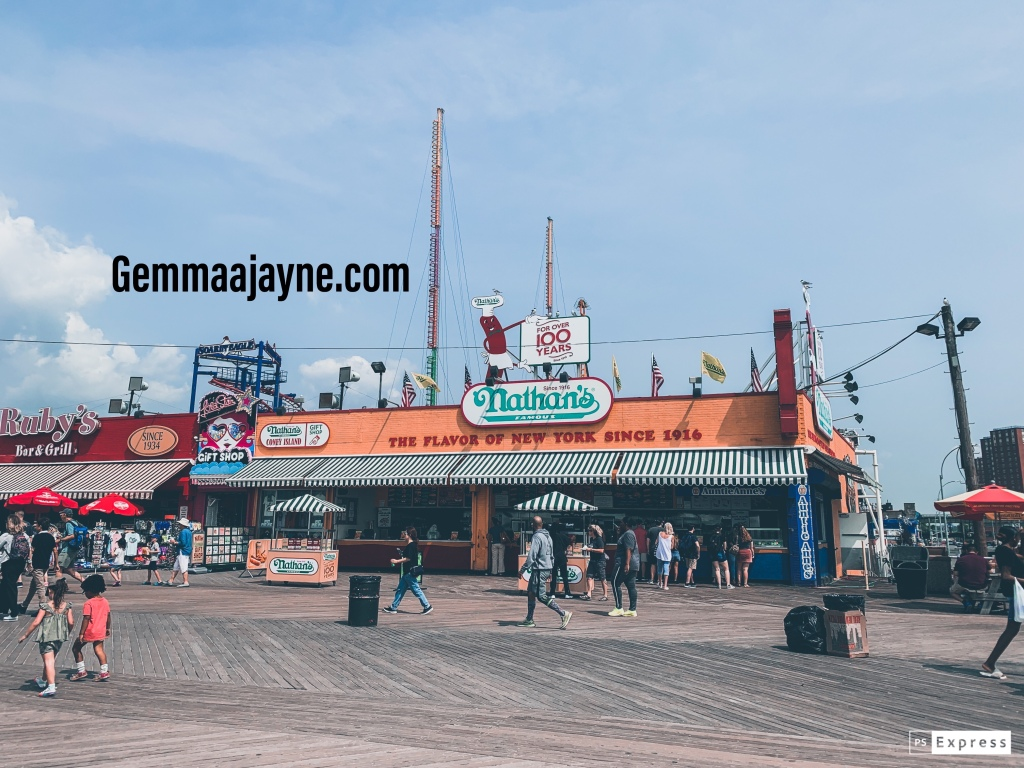 """""""Nathan's"""" hot dog place at Coney Island in New York."""