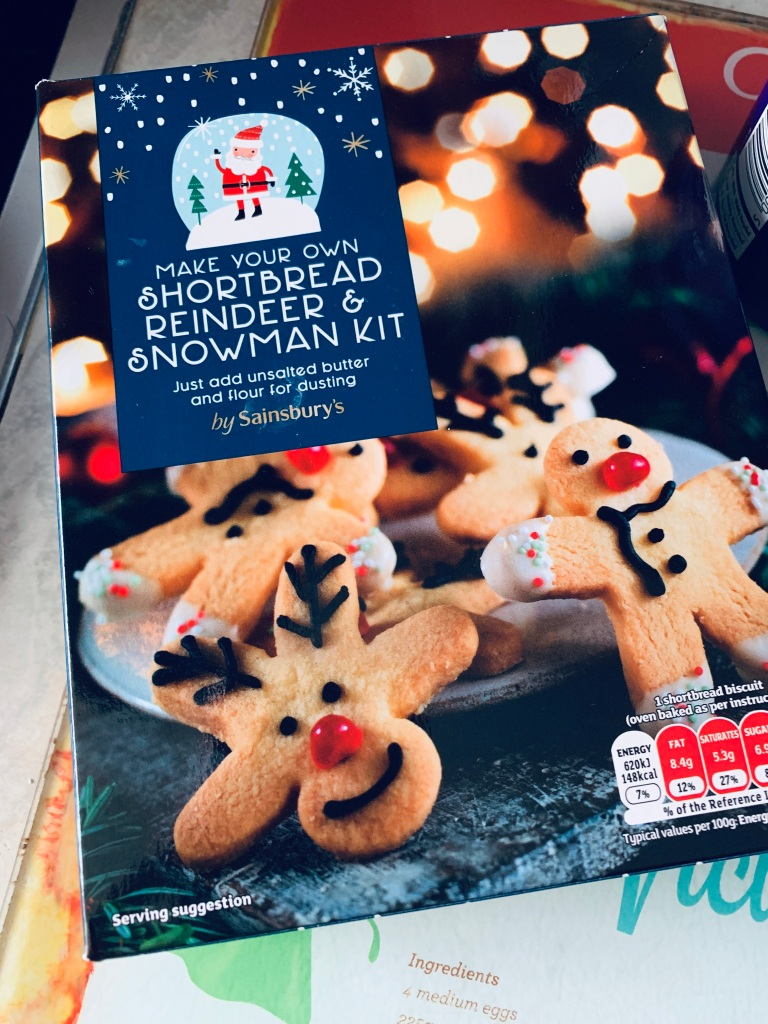 "A ""make your own shortbread reindeer and snowman kit"" from Sainsbury's"
