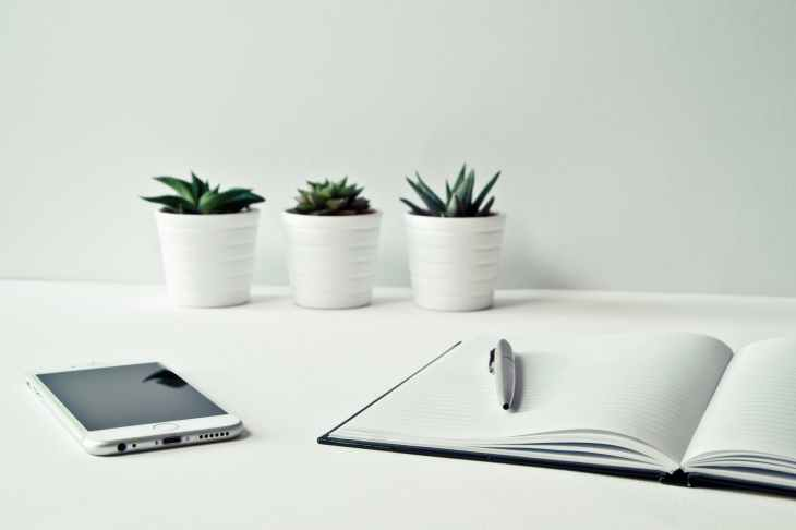 There are three white plant pots with green cactus plants in them. In front of this there is a iphone and an open notebook with a pen.