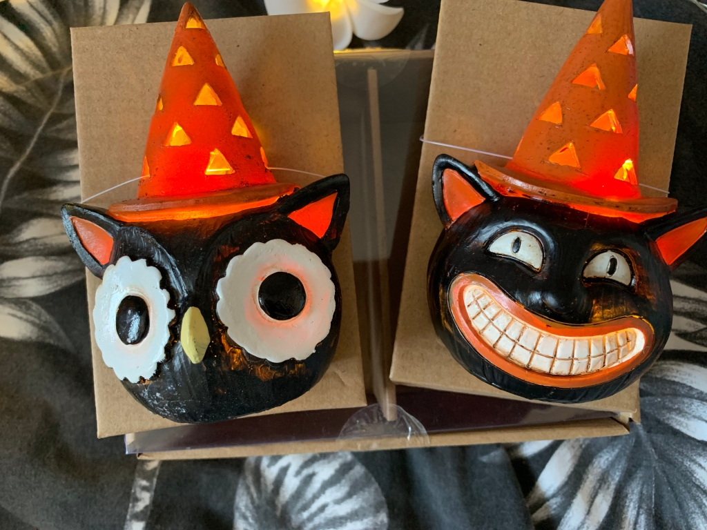 A pair of Halloween lights, one of a creepy black and orange cat with a hat on. The other is a black, white and orange owl. Both of them that light up.