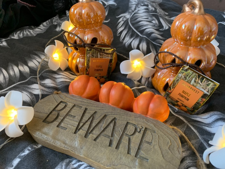 "A Halloween sign that says ""beware"" with three orange pumpkins on top, in front of two three tier maple pumpkin ornaments. And white flowery lights."