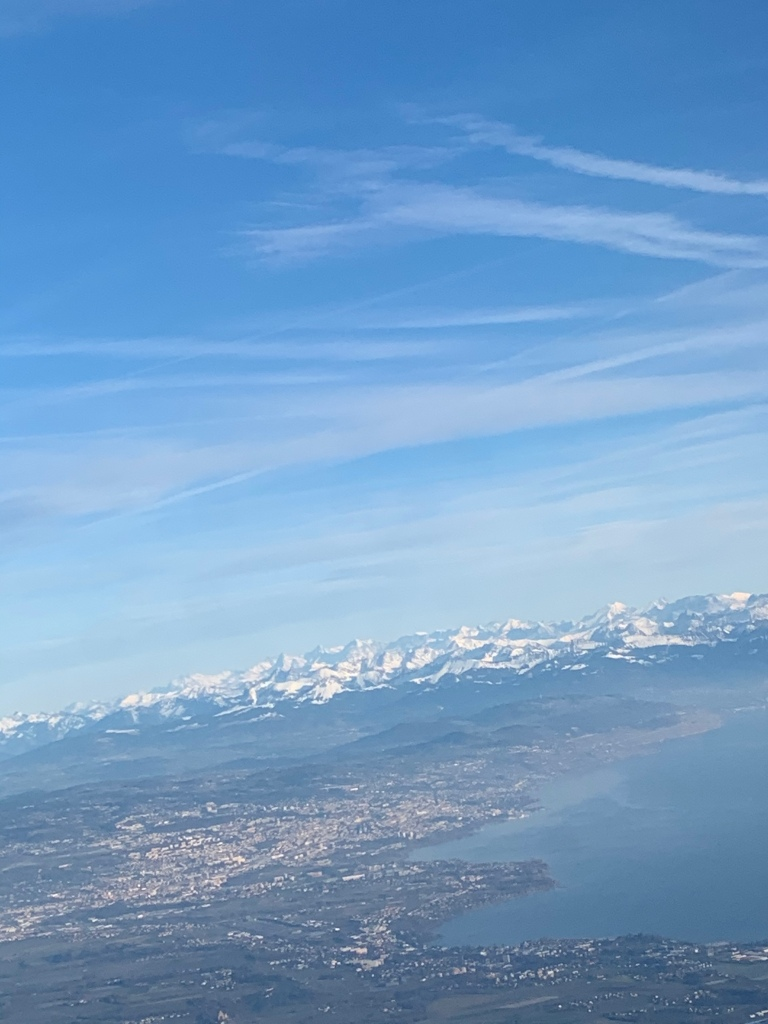 A view of the mountains from an aeroplane.