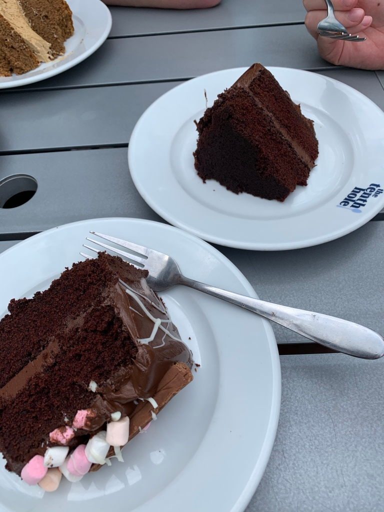 Two separate slices of chocolate cake at the Tenth Hole cafe in Portsmouth