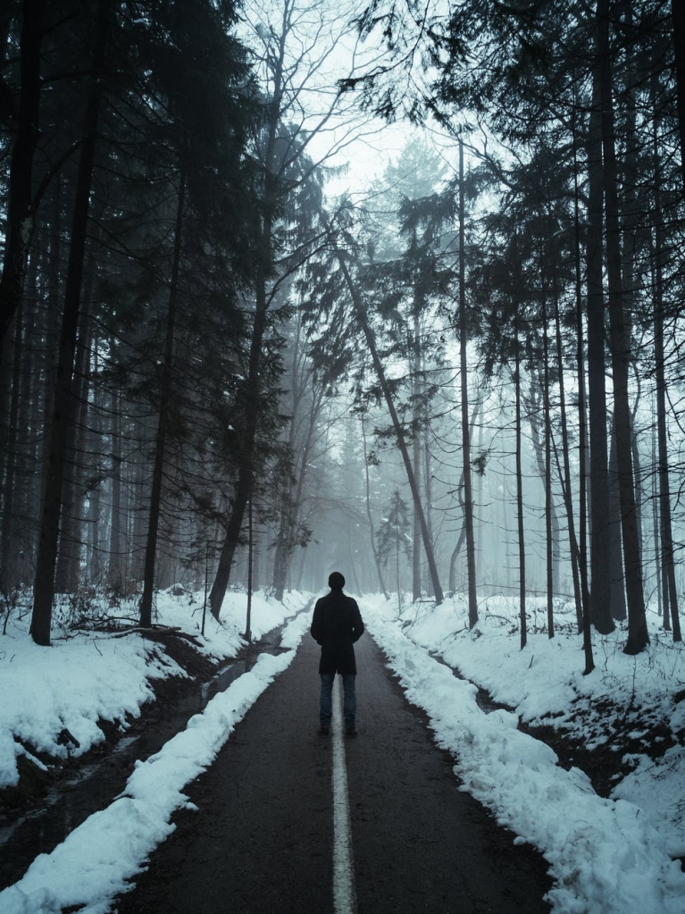 A person walking down a road in a dark forest with tall trees, and snow everywhere apart from the road