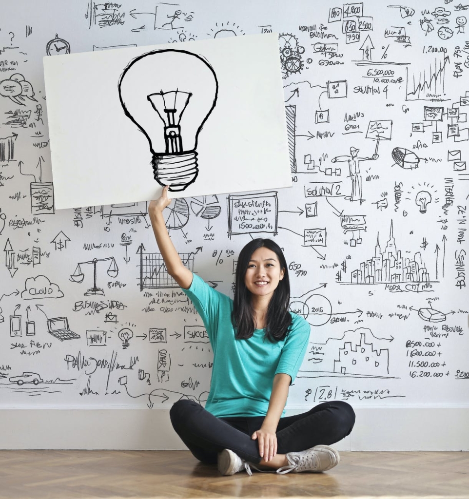 A woman holding up a lightbulb in front of a designed board full of ideas and drawings of random things