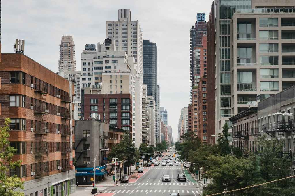 A street view of a selection of buildings from New York City.