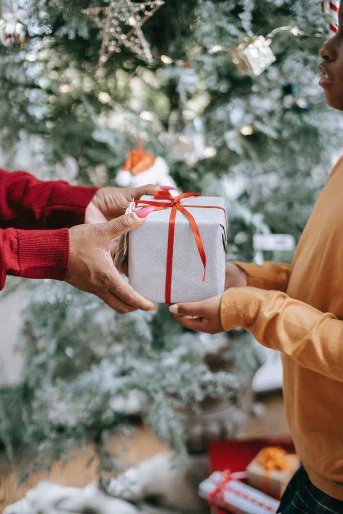 Two sets of hands holding onto a silver present wrapped with a red bow. One holding as if to give to the other, with a blurry Christmas tree in the background.