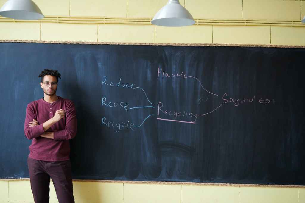 A man standing in front of a black board next to a mind map wrote in chalk.